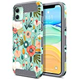 ULAK Compatible with iPhone 11 Case, Slim Hybrid Hard PC Shell Shockproof Phone Case for Women Girls, Anti-Scratch Protective Bumper Cover for iPhone 11 6.1 inch, Floral