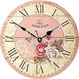 VIKMARI Fleurs Vintages de Style de décoration horloges murales en Bois Ronde Florale Horloge Murale 14 inch Rose