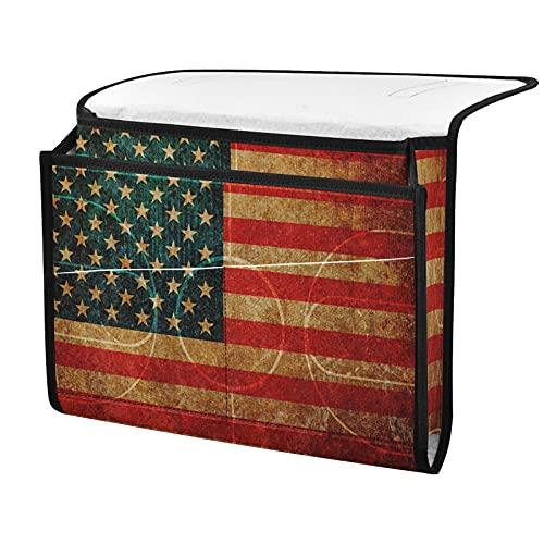 Organizador de almacenamiento para mesilla de noche, bandera de EE. UU., cesta al lado, organizador de almacenamiento para mandos a distancia gafas de teléfono
