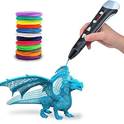 Asterio 3D Pen | LCD Display | 3 Speed Safety Printing | PLA & ABS | Excellent Arts Crafts Gift for Kids & Adults | Black
