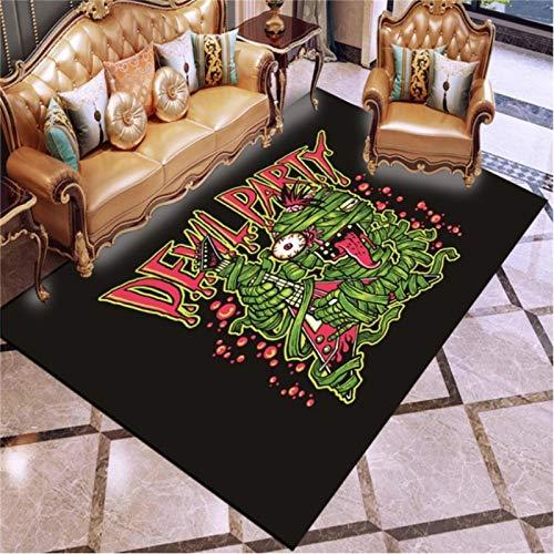 lili-nice Devil Party 3D-Druck Teppich Wohnzimmer Teetisch Sofa Schlafzimmer Rutschfester Teppich Kids Play Crawl Bodenmatte 120X160Cm