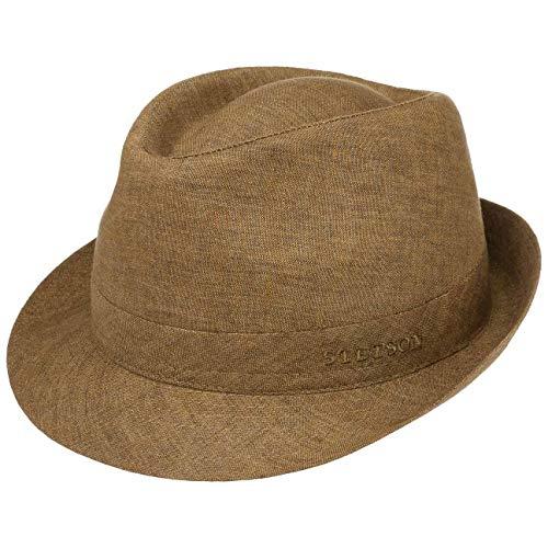 Stetson Geneva Trilby in Lino Donna/Uomo - Made Italy Cappello di Tessuto Estivo da Sole con Fodera Primavera/Estate - 54 cm Marrone