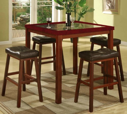 Roundhill Furniture Sable Artificial Marble Pub Set with Table and 4 Stools, dark wood and dark marble top