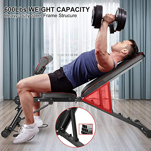 """Product Image 5: Bigzzia Weight Bench 61"""", Adjustable Strength Training Bench for Full Body Workout-Hyper Back Extension, Roman Chair, Incline Decline Bench, Dumbbells Bench with Widen Seat"""