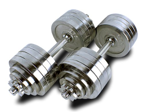 New MTN Gearsmith Heavy Duty Adjustable Cast Iron Chrome Weight Dumbbell Set Dumbbells 52.5 100 105 200 lbs (Silver-Chrome-Coated, 200 LB)