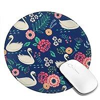 丸型マウスパッド ゲーミングマウスパッド 花柄スワンプリント おしゃれ オフィス自宅兼用 滑り止めゴム底 耐洗い表面 厚地 精密度アップ 光学式マウス対応 20*20cm 厚さ3mm