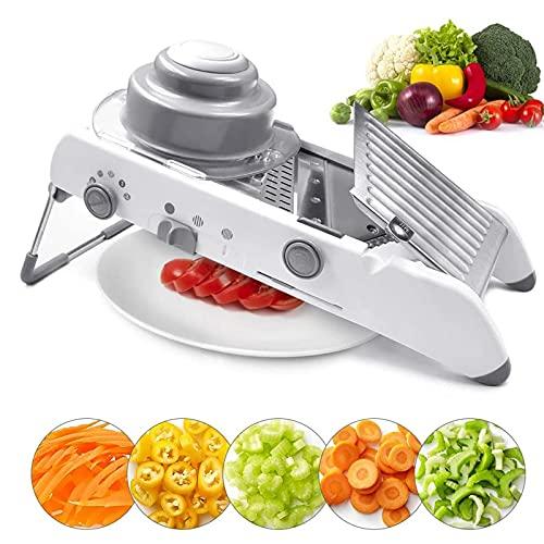 Cortadora de verduras multifuncional, cortadora de alimentos ajustable de acero inoxidable 18 en 1, cortadora de frutas, trituradora de queso para verduras, zanahorias, calabacines, papas con ajo