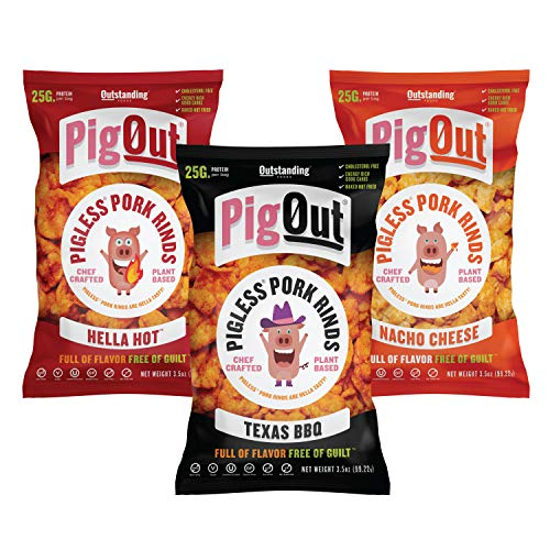 PigOut Pigless Pork Rinds, Variety Pack | Plant Based, High Protein, Low Calorie | Gluten Free, Kosher, Non-GMO | 3.5oz, 3 Pack