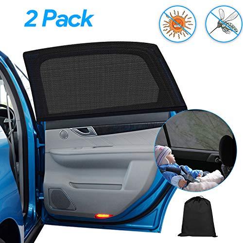 Qhui Sonnenschutz Auto Baby mit UV Schutz für Kinder, Universal Belüftet Heckscheibe Sonnenblende Blendschutz, 2 Stück Selbsthaftend Autofenster Anti-Mosquito Sonnenrollo für Haustiere, Max 52x100cm