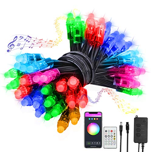 DeepDream RGB LED Fairy Lights 26FT Smart WiFi Bluetooth Pixel Digital String Lights with APP Remote Control Music Mode, Compatible with Alexa and Google Assistant for Home Terrace Christmas Decor