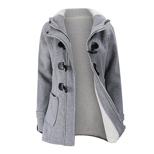 Elonglin Womens Duffle Coat Coton Fleece Trench Coat Winter Casual Hooded Horn Buttons Peacoat with Villi Lining Pockets Fashion Thick Toggle Coat Snowsuit Outerwear Hoodie Warm Size US XL Grey