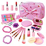 MELAND M Kids Makeup Kit - Washable Play Makeup for Girls - Real Cosmetics Toy with Pink Makeup Bag Set for Toddler Little Girls