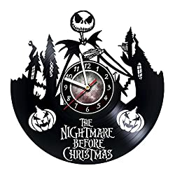 Nightmare before Christmas Vinyl Record Wall Clock - Poster - Ornaments - Party - Get unique kids, living room wall decor - Gift ideas for teens, friends, children – Gift for him - Gift for her