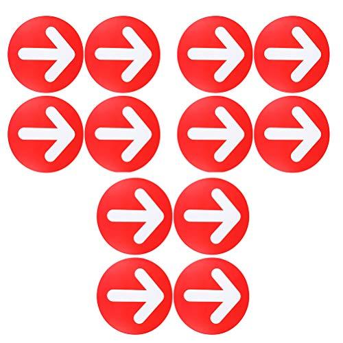 Pegatina Flechas Suelo, Señal Adhesiva con Flecha Direccional Etiquetas de Piso de Distancia Social para,Adecuado para Hospitales, Centros Comerciales, Estaciones,Aeropuertos,12Piezas,30x30cm