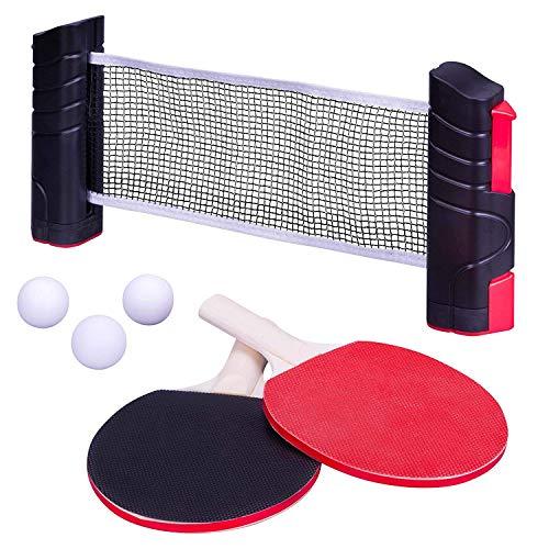 aoory Tischtennis Set Tragbar Tischtennisspiel Ping Pong Spiel Netz Versenkbar 2 Schläger 3 Bälle Aufbewahrungstasche
