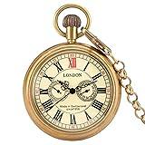 ZHAOXIANGXIANG Reloj De Bolsillo Retro,Reloj De Bolsillo Mecánico De Manos Antiguas De Londres Antiguo De Cobre, Reloj Esqueleto De Cuerda Manual, Cadena De Reloj De Bolsillo para Hombres