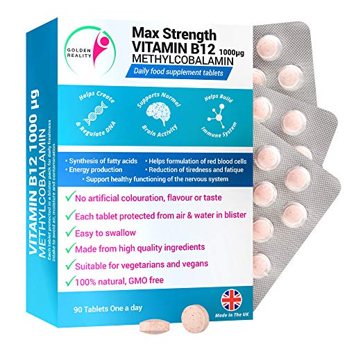 Max Strength VITAMIN B12 METHYLCOBALAMIN 1000mcg. Vegan Daily Food Supplements. Reduces Tiredness and Fatigue. Supports Functioning of the Nervous System & more. Made from Quality Natural Ingredients
