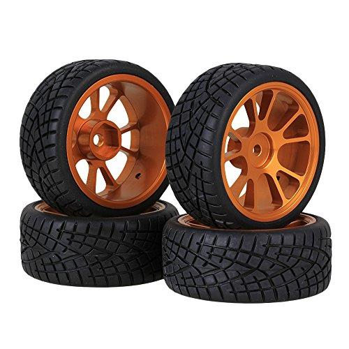 BQLZR Durable 5 Speichen Wei_ Felge Felgen & Reifen Reifen White + Black f?r RC 1:10 Drift Car & On Road Car 4er Pack