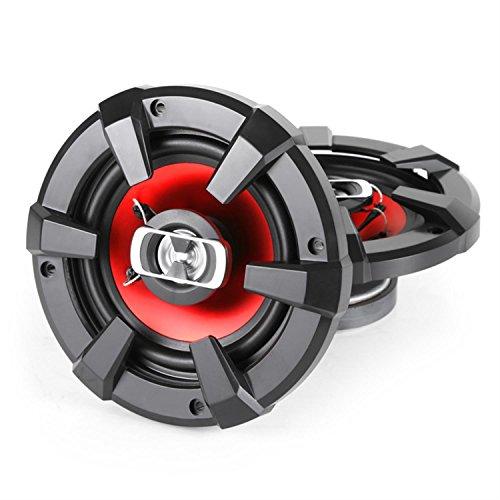 auna SBC-5121-2-Wege-Koaxial-Boxen, HiFi Set, Einbau-Lautsprecher Paar, Auto Lautsprecher, 1000 Watt max. Leistung, 2 x 13 cm-Lautsprecher, Neodymium-Tweeter, ASV-Schwingspule, schwarz-rot