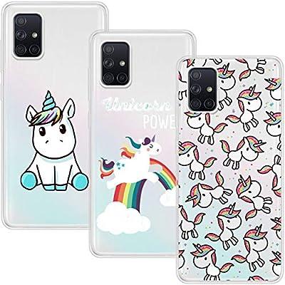 Young & Min Funda para Samsung Galaxy A51 4G[No para 5G], (3 Pack) Transparente TPU Silicona Carcasa Delgado Antigolpes Resistente, Unicornio