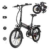 Vivi Bicicletas Electrica Plegable Adulto, 20'' Ebike Motor de 250W, Batería de Litio Extraíble de 36V 8Ah, 3 Modo de Trabajo, Profesional de 7 Velocidades (Negro-20 Pulgadas)