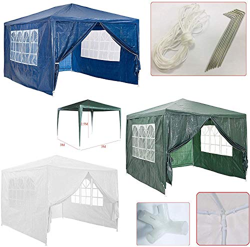 Gazebo with Sides 3x3m, Canopy Marquee Tent Outdoor Shelter, Garden Gazebo Tent for Outdoor Wedding Party Event, 4 Removable Panels, Waterproof, Powder Coated Steel Frame, Blue