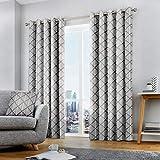 Fusion - Brooklyn - Par de Cortinas con Ojales 100% algodón, 229 x 229 cm, Color Gris