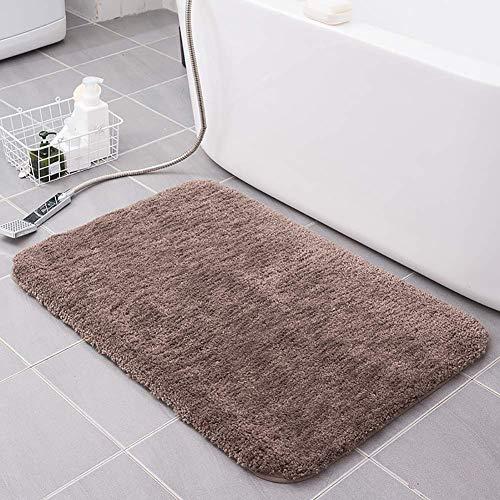 Alfombrilla de baño antideslizante y altamente absorbente, esponjosa y duradera, multiusos lavable a máquina, microfibra premium para uso en interiores, marrón oscuro, 45 x 70 cm