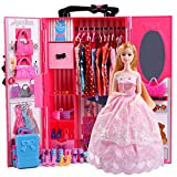 UCanaan Doll Closet Wardrobe Set for Doll Clothes (Also Suitable for 11.5 Inch Barbie Dolls), 51 Pcs Doll Accessories Included Fashion Doll ,Dresses, Shoes, Bags, Hangers and Stand