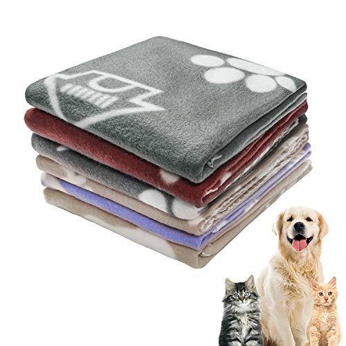 softan Coperta per Cani Gatto, Coperta Calda in Morbido Pile per Cucciolo,Gatti, Piccolo Animali Domestici,6 Pezzi, Cachi Rosso Grigio Blu Marino, 60x70cm