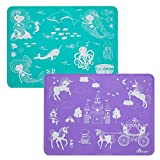Brinware Slip Resistant Reusable Toddler Silicone Placemat for Kids - Mermaids & Unicorns Purple / Turquoise (2 Pack)