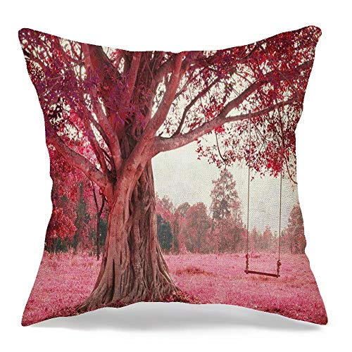 Pillow Cover Spring Fantastic Swing On Tree Happy Pink Rope Imagine Nature Parks Outdoor Design Playtime Day Linen Decorative Square Throw Pillow Cover 20x20 Inch for Sofa Couch Decoration