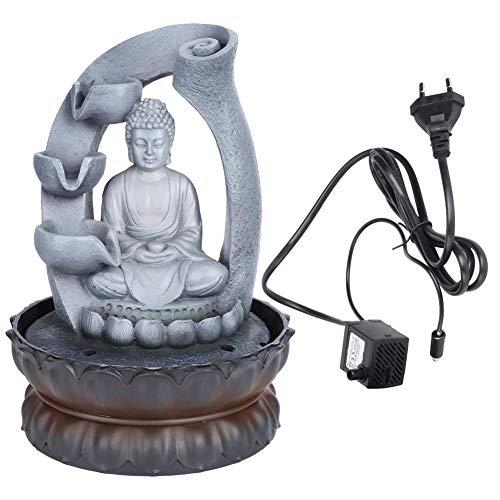Peso Ligero Resina única Forma de Buda Fuente de Escritorio Decoración Adorno de Mesa con Hermosa luz LED para el Patio de la Oficina en casa(220V)