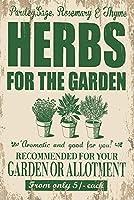 簡素な雑貨屋 Garden Herbs メタルプレート アンティーク な ブリキ の 看板、レトロなヴィンテージ 金属ポスター 、40x30cm