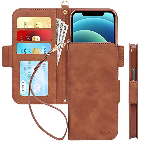 "Skycase Compatible for iPhone 12 Case/Compatible for iPhone 12 Pro Case 5G,[RFID Blocking]Handmade Flip Folio Wallet Case with Card Slots and Detachable Hand Strap for iPhone 12/12 Pro 6.1"" 2020,Brown"