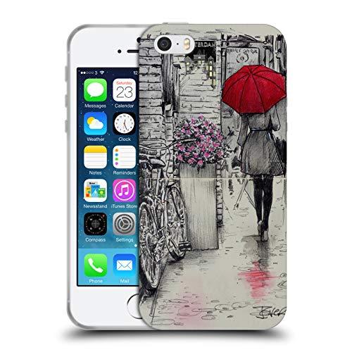 Head Case Designs Licenza Ufficiale LouiJoverArt Passeggiata Amsterdam Inchiostro Rosso Cover in Morbido Gel Compatibile con Apple iPhone 5 / iPhone 5s / iPhone SE 2016