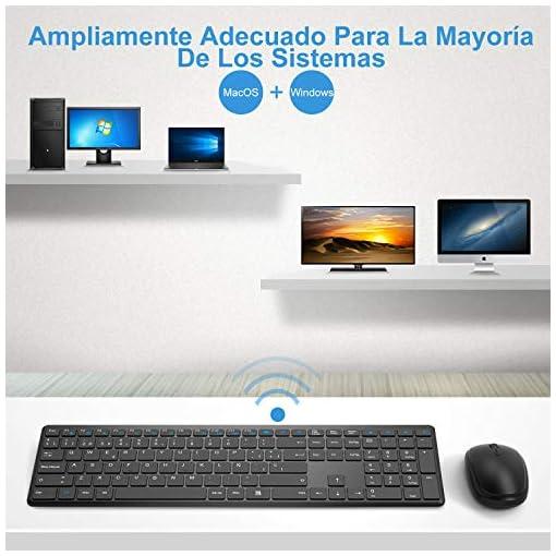 WisFox Combo de Teclado y Mouse Inalámbricos, 2.4G Mouse de Teclado Delgado de Tamaño Completo Packs con Receptor Nano… 6