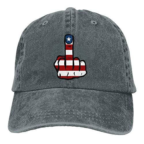 Aeykis Amerikanische Flagge Mittelfinger Denim Hut verstellbare Frauen Snapback Baseball Cap