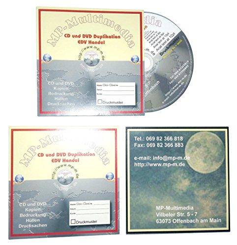 200 Karton CD Hüllen individuell bedruckt mit eigene Motiv, CD Kartonstecktaschen (Papphüllen) Herstellung mit personalisierter Druck