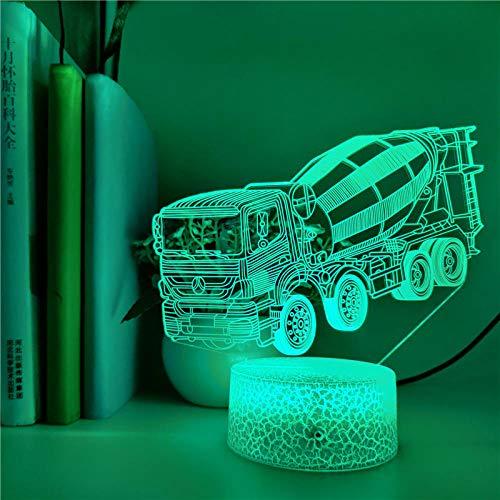 Lámpara de mesa de noche con ilusión 3D, camión mezclador de hormigón, 7 colores cambiantes, luz de noche LED táctil para decoración de dormitorio de bebé, regalo de Navidad-16 colors remote