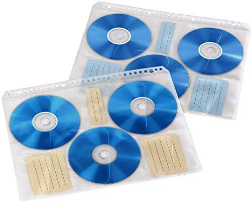 Hama CD-/DVD-/Blu-ray Hüllen mit 60 Indexkarten zum Beschriften (Archivierung, 10 Hüllen für je 6 CDs/DVDs/Blu-rays, geeignet für DIN A4 Ordner) transparent