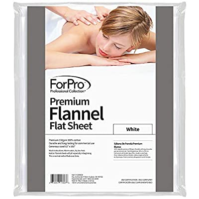 For Pro Premium Flannel Flat Sheet, White