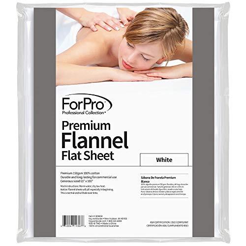 ForPro Premium Flannel Flat Sheet – Wrinkle-Resistant Massage Sheet - White