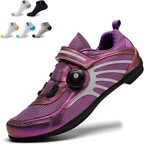 XFQ Zapatos Unisex Ciclismo, Adultos Zapatos De Bicicleta Casual Antideslizante De Zapatos Ninguna Bloqueo De Ciclo del Camino Reflectante De Amortiguación,Púrpura,39EU