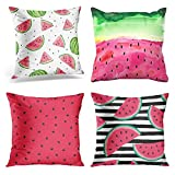 Jbralid Green Watercolor Summer Watermelon Black Berry Watermelons Pattern Red Color Cotton Linen Indoor Decor Throw Pillow Cover Case Set of 4, 18x18 in