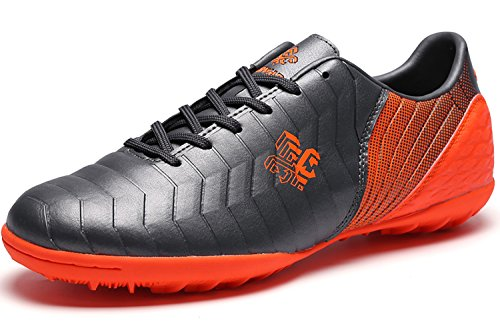 Saekeke  Fussballschuhe Kinder FG/TF Fußballschuhe Jungen Low Top Trainingsschuhe Für Unisex-Kinder, Grau Orange Tf ,  40 EU
