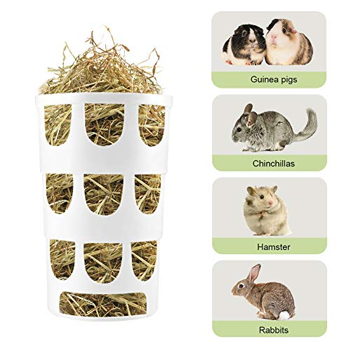 Furpaw Heuraufe für Kaninchen, Kleintier Näpfe Heuraufe Futtertower für Heu Karotten Futterraufe, Heuraufe Fütterung in Kunststoff für Parrot (Weiß)