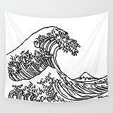 Gran ola Prefectura de Kanagawa Tapiz de arte japonés Pintura de pared Ukiyo-e Kanagawa Fondo de pared de surf Tapiz de tela A2 180X200CM