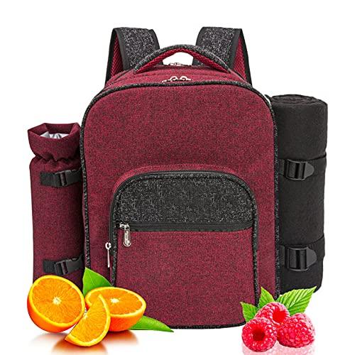 Mochila de Picnic para 4 Personas|Bolsa para refrigerador |Mochila de Picnic Bolsa cesto Bolsa refrigeradora con Juego de vajilla y Manta para Playa,Picnics,Camping(Red)