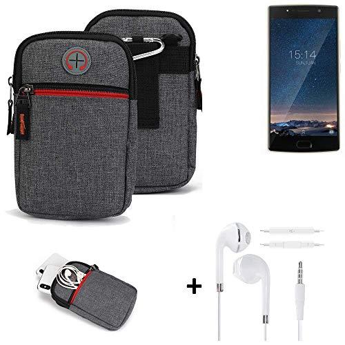 K-S-Trade® Gürtel-Tasche + Kopfhörer Für -Doogee BL7000- Handy-Tasche Schutz-hülle Grau Zusatzfächer 1x